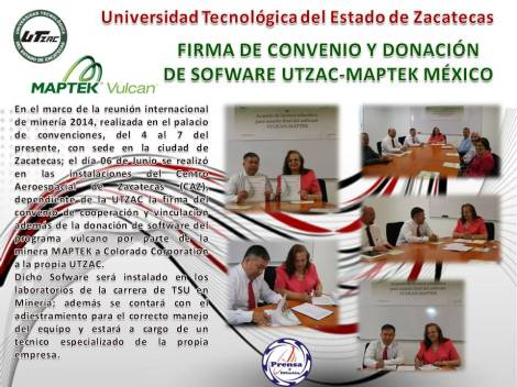 firma de convenio vulkan-maptek UTZAC